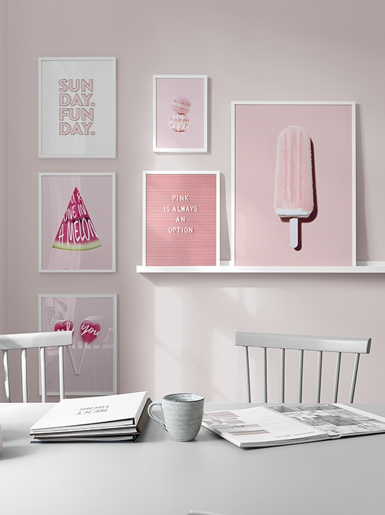 Pastel pink prints with sweets