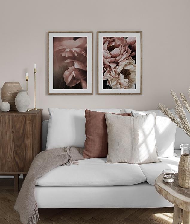 Poster mit rosa Pfingstrosen fürs Wohnzimmer