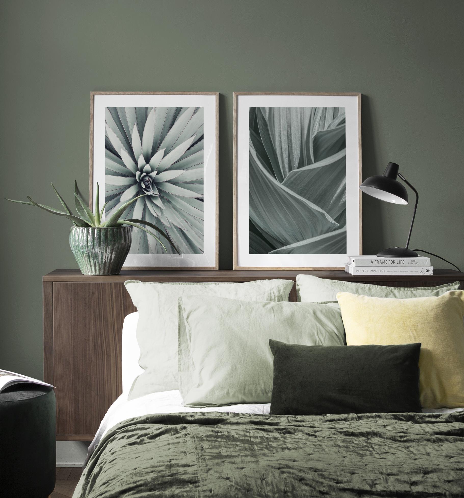 Wohnliche Schlafzimmerdekoration in Grün