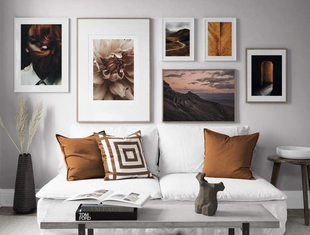 Large gallery wall in orange